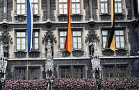 Flags on building, Munich, Germany