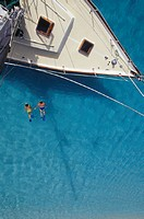 Two people snorkelling in tropics, (Aerial view)