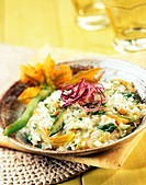 risotto with asparagus  and pumpkin flowers