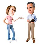 conceptual caricature of a caucasian father as he hands over money from his wallet to his teenage daughter