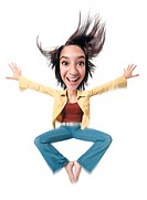 photo caricature of an ethnic teenage girl in jeans and a yellow jacket as she jumps up into the air