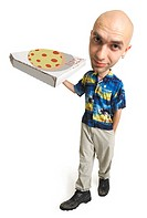photo caricature of a young caucasian male who is bald and dressed in a hawaiian shirt as he delivers a pizza