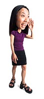 photo caricature of an attractive asian woman in a black skirt and purple top holds up her hand and hollers
