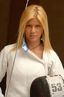 Portrait of a blonde female fencer