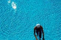 Bird's Eye View of Female Swimmer In Pool