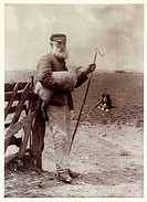 A photograph titled ´Ninety and Nine´, showing an elderly shepherd carrying a lamb and holding a crook, taken by Colonel Joseph Gale (c 1835-1906) in ...