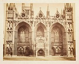 A photograph of the West Front of Peterborough Cathedral, or the Cathedral Church of St Peter, by Samuel Smith. The cathedral was built in about 1180,...