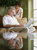 Mature couple using laptop computer (thumbnail)