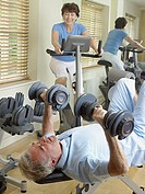 Mature couple working out