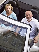 Mature couple in convertible