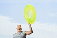 Man holding an inflatable ring