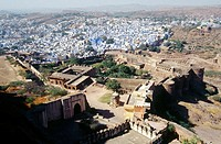 Meherangarh fortress walls and buildings. Jodhpur. Rajasthan. India