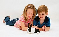 Madison & Jack with a young Dutch rabbit.