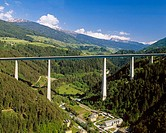 Europe Bridge of the Brenner Express highway near Innsbruck City, Tyrol country, Austria