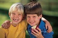 Two boys, portrait.