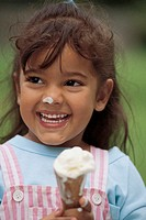 Little girl with ice cream cone.