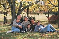 Extended family outside, portrait.