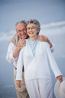 Couple at beach, portrait.
