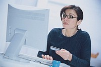 Woman ordering online.