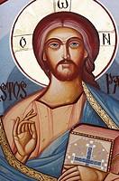 Jesus Christ - mural painting - Sambata Monastery, Sibiu County, southern Transylvania, Romania