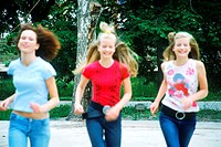 Three Teenagers Running