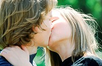 Close-up of a young couple kissing (thumbnail)