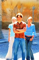 Blurred portrait of a young man standing with two young women (thumbnail)
