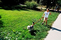 Young girl walking a dog