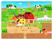 Illustration of House and Farmyard in the Springtime