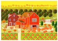 Illustration of Pumkins in Field in Front of House