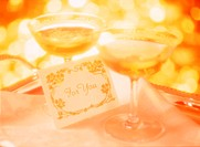 Close Up of Two Wine Glasses and Greeting Card (thumbnail)