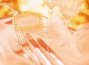 Close Up of Place Setting on Table with Greeting Card