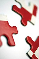 Close-up of jigsaw pieces