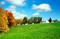 Shaker village at fall near Canterbury, New Hampshire