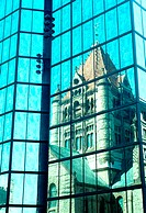Trinity Church reflected in , high rise, Boston, MA