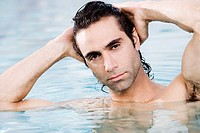 Portrait of a mid adult man in a swimming pool