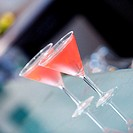 Close-up of two martini glasses