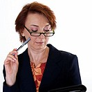 Close-up of a businesswoman holding a file