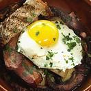 """Breakfast, fried egg, """"sunnyside up"""" egg, caon, American breafast"""