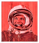 Yuri Gagarin. Artwork of the Soviet cosmonaut Yuri Gagarin (1934-1968) in his spacesuit. Gagarin was the first person in space. He was launched in Vos...