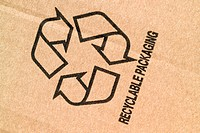 Recycling symbol on cardboard packaging.