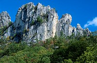 Low angle view of cliffs, Seneca Rocks, West Virginia, USA