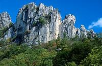 Low angle view of cliffs, Seneca Rocks, West Virginia, USA