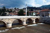 High angle view of arch bridge on river, Sarajevo, Bosnia and Herzegovina, Peninsula, Europe