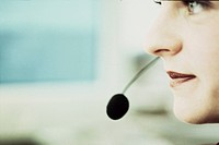 Woman with headset, close_up