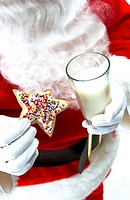Santa with cookie and milk