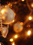 Baubles on Christmas tree, close-up