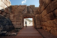 The Lions Gate, the entrance of the palace of the ancient city of Mycenae, Argolis, Peloponnese, Greece
