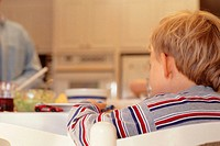Boy (4-5), playing with toys at kitchen table, (rear view)
