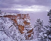 USA, Arizona, Grand Canyon with snow, South Rim